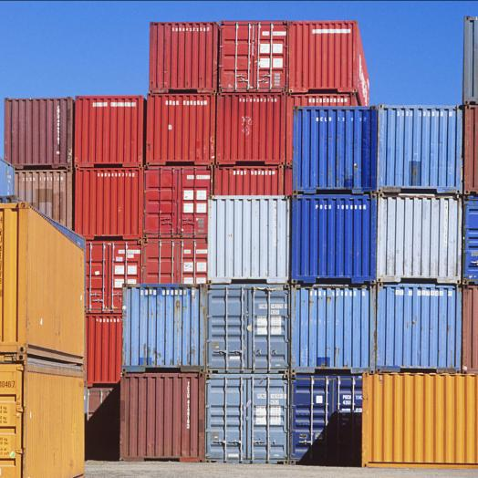 Containers in different colours