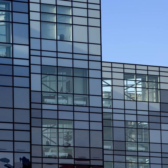 The facade of a building on Lindholmen.