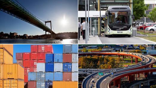 Bridge, bus, containers and bridge in Gothenburg