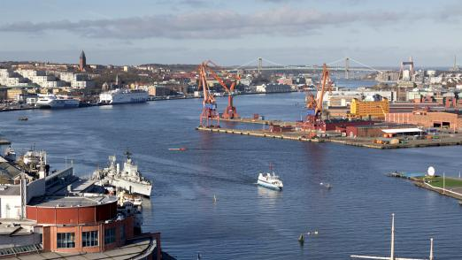 View over Gothenburg harbour in the middle of the city