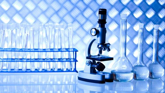 Microscope and test tubes